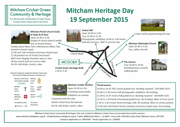 Mitcham Heritage Day flyer 19 Sep 2015